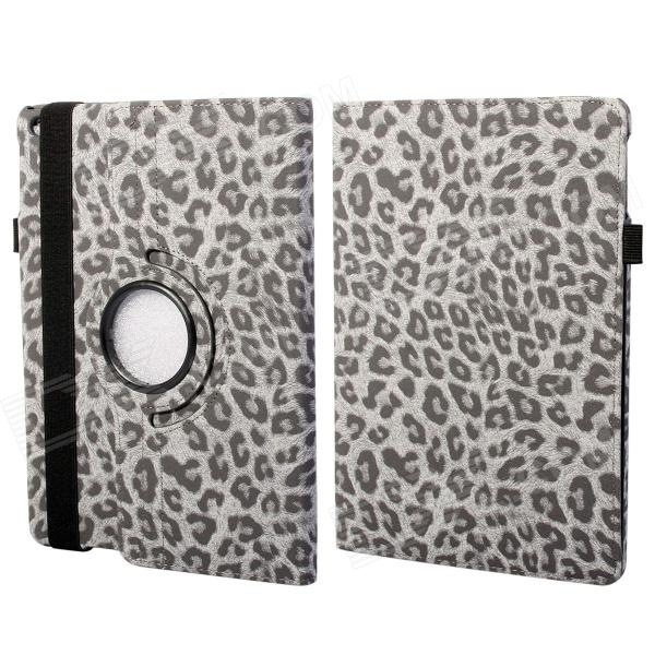 360 Degree Rotation Leopard Pattern Protective PU Leather + PC Case Cover Stand for Ipad AIR - Grey protective 360 degree rotation holder pu leather case for samsung p6800 p6810 pink