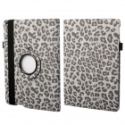 360 Degree Rotation Leopard Pattern Protective PU Leather + PC Case Cover Stand for Ipad AIR - Grey