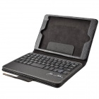 Detachable Wireless Bluetooth V2.0 59-Key Plastic Keyboard w/ PU Leather Case for Ipad MINI - Black