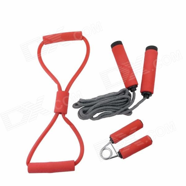3-in-1 Jump Rope + Tubing + Grip Exerciser Sports Exercise Set - Red