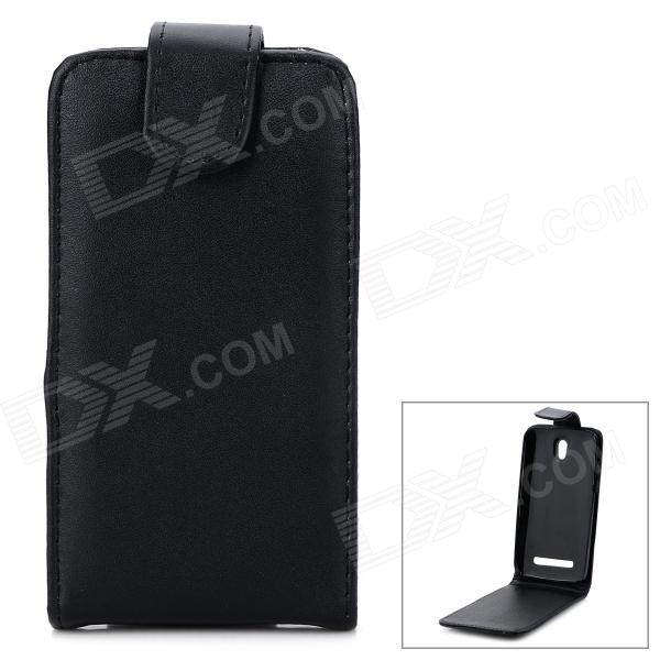 Protective Flip-Open PU Leather Case for HTC Desire 500 - Black