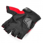 PRO-BIKER HJ49 Motorcycle Nylon Half-Finger Anti-Slip Gloves - Dark Red + Black