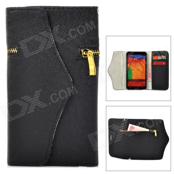 Фото - 3-1 Stylish Zipper Detail PC + PU Leather Purse Case for Samsung Galaxy Note 3 - Black thinkthendo 3 color retro women lady purse zipper small wallet coin key holder case pouch bag new design
