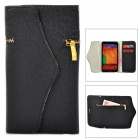 3-1 Stylish Zipper Detail PC + PU Leather Purse Case for Samsung Galaxy Note 3 - Black