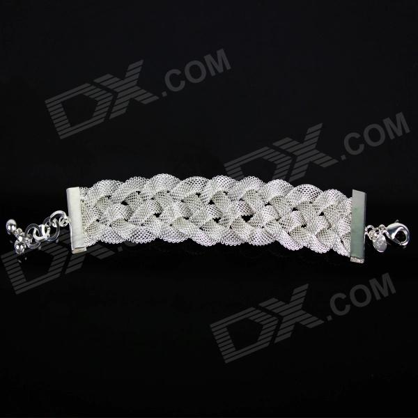 Stylish 925 Silver Crossover Women's Bracelet - Silver stylish rose style 925 silver women s bracelet silver