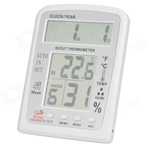 KT203 5'' + 5 LCD Digital Indoor / Outdoor Thermometer / Humidity Meter - White (1 x AA) indoor air quality pm2 5 monitor meter temperature rh humidity