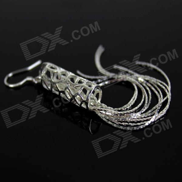 Stylish Hollow Hanging Wire Style 925 Silver Women's Earrings - Silver (Pair)