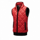 Stylish Slim Fit Stand Collar Men's Waistcoat - Red + Black (Size-L)