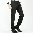Stylish Slim Fit Men's Straight Trousers - Black (Size-L)