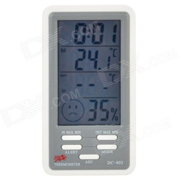 DC803 4 LCD Digital Indoor & Outdoor Temperature Humidity Meter w/ Alarm Clock digital carbon dioxide monitor indoor air quality co2 meter temperature rh humidity twa stel 99 points memory taiwan made