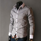 Stylish Men's Long-sleeved Shirt - Light Grey + White (Size-XL)