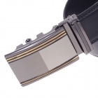0551 Stylish Men's Cow Split Leather Belt w/ Zinc Alloy Automatic Buckle - Black