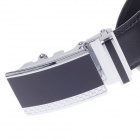 0523 Style Stylish Men's Cow Split Leather Belt w/ Zinc Alloy Automatic Buckle - Black