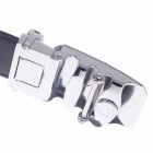 Vogue Men's Cow Split Leather Belt w/ Zinc Alloy Automatic Buckle - Black