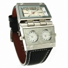 Stylish Men's Square Quartz Analog Watch w/ Multiple Time Zones - Silver + Black + Brown (1 x 10)