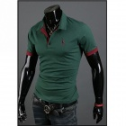 POLOT03 Slim Fit Men's Short-Sleeve Polo Shirt - Grass Green (Size-XXL)