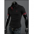 POLOT03 Slim Fit Men's Short-Sleeve Polo Shirt - Black (Size XXL)