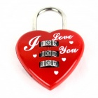 3-Digit Combination Password Heart Lock -Red + Silver + White (Code: 000)