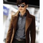 DY01 Fashionable Men's Double-Breasted Long Woolen Coat - Khaki (Size-L)