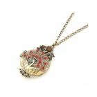 Fashionable Peacock Style Women's Sweater Chain Necklace - White + Bronze