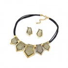 Fashionable Metallic Geometry Squares Women's Earrings + Necklace Set - Black + Copper