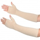 Women's Fashion Wool Half Finger Long Gloves - Beige