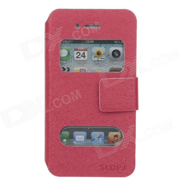 SLDPJ Stylish Ultra-thin Protective PU Leather Case Cover w/ Visual Window for Iphone 4 / 4S - Red remax protective flip open pu leather case w visual window for iphone 4 4s white