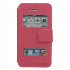 SLDPJ Stylish Ultra-thin Protective PU Leather Case Cover w/ Visual Window for Iphone 4 / 4S - Red