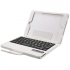 Detachable Wireless Bluetooth V2.0 59-Key Plastic Keyboard w/ PU Leather Case for iPad Mini - White
