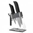KING DOUBLE KBY-Q6 (FB) Durable Zirconia Ceramic Knife + Peeler Set - Mock Black + White (6 PCS)
