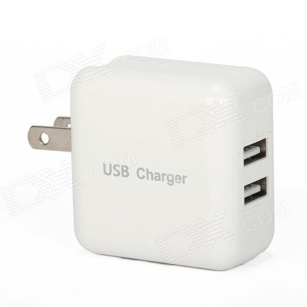 YC-CDA2 Adaptador Dual USB Car Charger para iPhone + Mope-Branco (US Plugs / 100 ~ 240V)