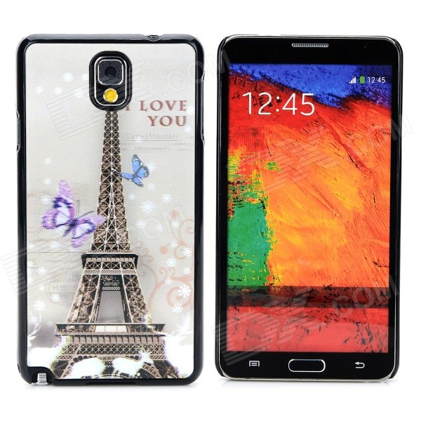 3D I Love You Eiffel Tower Style Protective Back Case for Samsung Galaxy Note 3 - Black + Multicolor cute 3d girl style protective silicone back case for samsung galaxy note 3 n9000 green