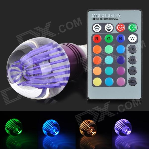 TOPLE TJ-RGB-3WP E27 3W 180lm 1-LED RGB Light Lamp w/ Remote Controller - Purple
