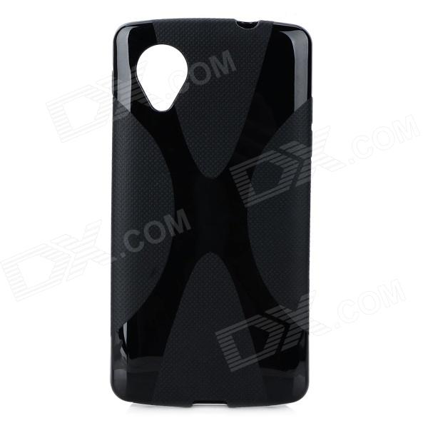X Style Anti-Slip Protective PVC + TPU Back Case for LG Nexus 5 E980 / D820 - Black x style anti slip protective pvc tpu back case for lg nexus 5 e980 d820 black