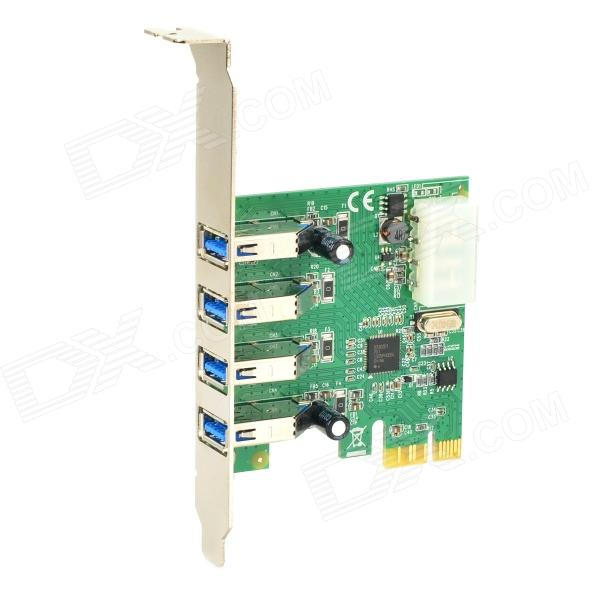 PCI-E 4 Port USB3.0 Expansion Card - Green 5 port usb 2 0 pci expansion card