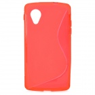 """S"" Style Anti-Slip Protective TPU Back Case for LG Nexus 5 E980 / D820 - Red"