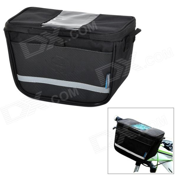 ROSWHEEL 11812 Polyester + PU Bike Front Bag w/ PVC Touch Phone Pocket - Black