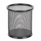 Business Style Stainless Steel Net Round Pen Holder - Black
