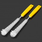 MR-P134 Car Wheel Cleaner Brushes Set - White + Yellow (2 PCS)