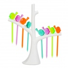 Baichuanghui Bird Style Kitchen Fruit GPPS Fork Set w/ Holder - White + Blue + Multicolored (8 PCS)