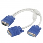 1-to-2 VGA Male to Female Extension Cable w/ Dual Magnetic Ring for Projector - White + Blue (30cm)