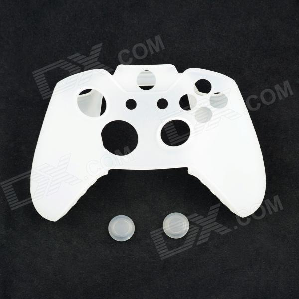Protective Silicone Case for Xbox One Controller with Button Caps - White protective silicone case for xbox one controller camouflage green