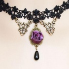 Dear Lover 0851 Zinc Alloy Lady's Rose Lace Collar Necklace