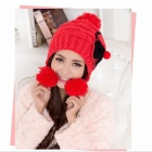 Fashion And Lovely Bowknot Earmuffs Warm Wool Hat - Red