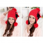 Fashion And Lovely Bowknot Earmuffs Chapeau en laine chaude - Rouge