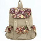 Modische Leinwand Casual Backpack - Beige Weiß