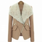 Fashionable Brief Paragraph Slim Fit Collars Wool Women Coat - Beige (Size-L)