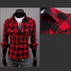 C56 Fashion Large Lattice Leisure Men's Long Sleeve Shirt - Red + Black (Size XL)