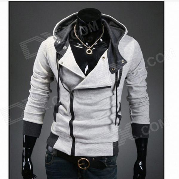 Stylish Slim Fit Inclined Zipper Cardigan for Men -Light Grey (Size-L)
