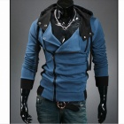 Stylish Slim Fit Inclined Zipper Cardigan for Men - Denim Blue (Size-L)